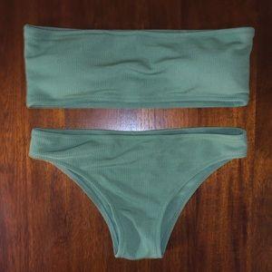 Zaful Green Bandeau Bikini Top & Bottom - NWOT